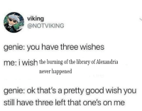 Viking: viking  @NOTVIKING  genie: you have three wishes  me: i wish the burning of the library of Alexandria  never happened  genie: ok that's a pretty good wish you  still have three left that one's on me