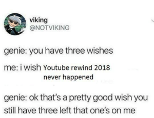 Dank, Memes, and Target: viking  @NOTVIKING  genie: you have three wishes  me: i wish Youtube rewind 2018  never happened  genie: ok that's a pretty good wish you  still have three left that one's on me Taking one for the team by dirtylongs MORE MEMES