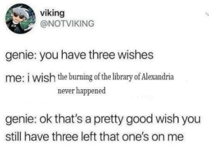 Good, Library, and Viking: viking  @NOTVIKING  genie: you have three wishes  me: i wish the burning of the library of Alexandria  never happened  genie: ok that's a pretty good wish you  still have three left that one's on me me_irl