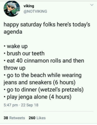 Meirl: viking  @NOTVIKING  happy saturday folks here's today's  agenda  wake up  .brush our teeth  eat 40 cinnamon rolls and then  throw up  go to the beach while wearing  jeans and sneakers (6 hours)  go to dinner (wetzel's pretzels)  play jenga alone (4 hours)  5:47 pm 22 Sep 18  38 Retweets 260 Likes Meirl