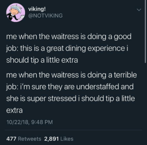 Dank, Memes, and Target: viking!  @NOTVIKING  me when the waitress is doing a good  job: this is a great dining experience i  should tip a little extra  me when the waitress is doing a terrible  job: i'm sure they are understaffed and  she is super stressed i should tip a little  extra  10/22/18, 9:48 PM  477 Retweets 2,891 Likes meirl by bluntsrgh MORE MEMES