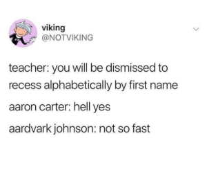 me_irl by SoccerMoms27 MORE MEMES: viking  @NOTVIKING  teacher: you will be dismissed to  recess alphabetically by first name  aaron carter: hell yes  aardvark johnson: not so fast me_irl by SoccerMoms27 MORE MEMES