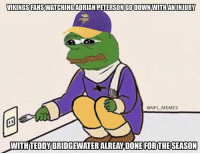 Half the Vikings roster about to be on the IR: VIKINGS FANSWATCHINGADRIAN PETERSONGODOWNIWITH AN INJURY  @NFL MEMES  WITH TEDDYBRIDGEWATERALREAY DONE FOR THE SEASON Half the Vikings roster about to be on the IR