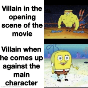 Movie, Dank Memes, and Villain: Villain in the  opening  scene of the  movie  Villain when  he comes up  against the  main  character  made with mematic Every f***ing movie
