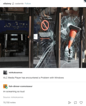 VLC has encountered a problem: villainnycadarnle Follow  THE  mirkokosmos  VLC Media Player has encountered a Problem with WindowS  fish-dinner-connoisseur  im screaming so loud  Source: mirkokosmos  72,722 notes VLC has encountered a problem