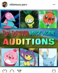 Hey, so villainous.parv and a few others are doing this Pokemon Survivor series on YouTube, and they're casting voice actors for it right now. I'm not involved with it at all, nor am I auditioning myself, but I just thought I'd shout it out in case any of you guys are interested. ¯\_(ツ)_-¯: villainous.parv  TDPI SURVIVOR VDICE AGOR-  AUDITIONS Hey, so villainous.parv and a few others are doing this Pokemon Survivor series on YouTube, and they're casting voice actors for it right now. I'm not involved with it at all, nor am I auditioning myself, but I just thought I'd shout it out in case any of you guys are interested. ¯\_(ツ)_-¯