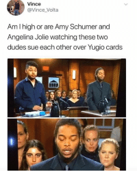 Amy Schumer, Funny, and Angelina Jolie: Vince  @Vince Volta  Am I high or are Amy Schumer and  Angelina Jolie watching these two  dudes sue each other over Yugio cards  0 Anne Hathaway on the left there too 👀