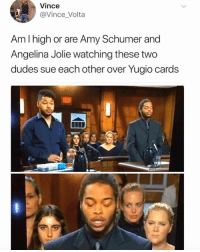 Jolie: Vince  @Vince_Volta  Am I high or are Amy Schumer and  Angelina Jolie watching these two  dudes sue each other over Yugio cards  0