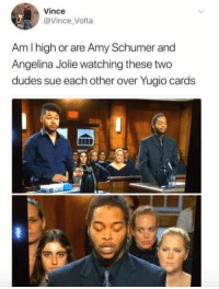 "Amy Schumer, Club, and Judge Judy: Vince  @Vince Volta  Am l high or are Amy Schumer and  Angelina Jolie watching these two  dudes sue each other over Yugio cards <p><a href=""http://laughoutloud-club.tumblr.com/post/169598277830/judge-judy"" class=""tumblr_blog"">laughoutloud-club</a>:</p>  <blockquote><p>Judge Judy</p></blockquote>"