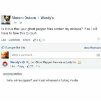 Fucking, Hello, and Memes: Vincent Osborn  Wendy's  Is it true that your ghost pepper fries contain my mixtape? If so i will  have to take this to court.  Like . Comment Share  3  6 people like this.  Most Relevant  Write a comment  Wendy's No, our Ghost Pepper fries are actualy hot. @  Like Repy 26 1 hr  sonypraystation:  hello, crimestoppers? yeah i just witnessed a fucking murder i want to paint something but i have no idea what to paint