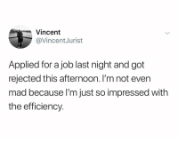 @vincentjurist: Vincent  @VincentJurist  Applied for a job last night and got  rejected this afternoon. I'm not even  mad because l'm just so impressed with  the efficiency. @vincentjurist