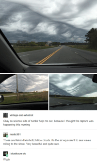 the rapture: vintage-and-whatnot  Okay so science side of tumblr help me out, because thought the rapture was  happening this morning  medic 981  Those are Kelvin-Helmholtz billow clouds. Its the air equivalent to sea waves  rolling to the shore. Very beautiful and quite rare.  i-dont know-ok  Woah