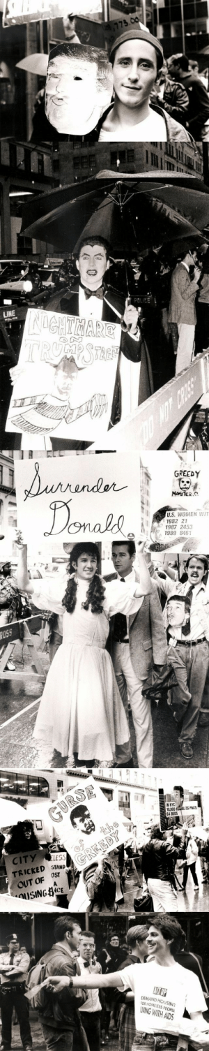 vintageeveryday:  Photos of gay activists protesting outside Trump Tower for homeless people living with HIV/AIDS in 1989.: vintageeveryday:  Photos of gay activists protesting outside Trump Tower for homeless people living with HIV/AIDS in 1989.