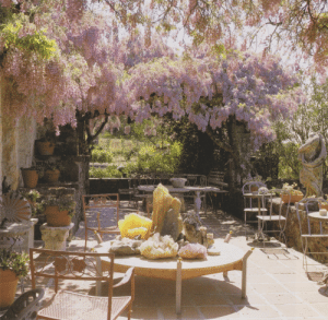 Shade, Tumblr, and Blog: vintageimagecollection:  An arbor of wisteria offers shade and fragrance to a terrace garden. An arrangement of rock crystals creates decorative interest.  Home Landscaping: Ideas, Styles, and Designs for Creative Outdoor Spaces, 1988