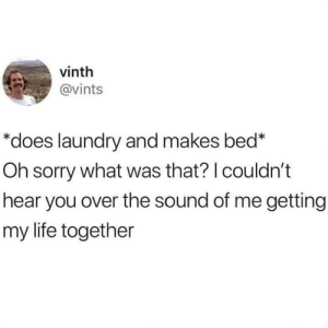 "Laundry, Life, and Sorry: vinth  @vints  ""does laundry and makes bed*  Oh sorry what was that? I couldn't  hear you over the sound of me getting  my life together"