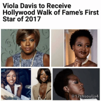 """ViolaDavis is about to take her place in Hollywood history. Hollywood Walk of Fame producer and VP of media relations Ana Martinez just announced that the lauded actress will receive a star on January 5. Davis' ceremony will be the first of 2017.Davis will add a Hollywood star to her long list of acting accolades, most recently earning nominations from a slew of organizations for her upcoming role in """"Fences."""" The woman slays in multiple mediums. She's won an Emmy for her starring role in ABC's """"How to Get Away With Murder,"""" two Tony Awards for her characters in Broadway's """"Fences"""" and """"King Hedley II."""" She also has a collection of SAG, Critics Choice, People's Choice and Drama Desk awards. The Hollywood Chamber of Commerce, which administers the Walk of Fame, first announced in 2012 that Davis was among a list of entertainment professionals who had been selected to receive stars in 2013. No word on why it took four years to make it happen. …But better late than never. 17thsoulja BlackIG17th blackexcellenceinfilm🎥: Viola Davis to Receive  Hollywood Walk of Fame's First  Star of 2017  17th soulia4 ViolaDavis is about to take her place in Hollywood history. Hollywood Walk of Fame producer and VP of media relations Ana Martinez just announced that the lauded actress will receive a star on January 5. Davis' ceremony will be the first of 2017.Davis will add a Hollywood star to her long list of acting accolades, most recently earning nominations from a slew of organizations for her upcoming role in """"Fences."""" The woman slays in multiple mediums. She's won an Emmy for her starring role in ABC's """"How to Get Away With Murder,"""" two Tony Awards for her characters in Broadway's """"Fences"""" and """"King Hedley II."""" She also has a collection of SAG, Critics Choice, People's Choice and Drama Desk awards. The Hollywood Chamber of Commerce, which administers the Walk of Fame, first announced in 2012 that Davis was among a list of entertainment professionals who had been selected to receive"""