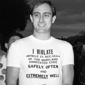 "imakegoodchoices: ""I VIOLATE ARTICLE 27, SEC. 553-4 OF THE MARYLAND ANNOTATED CODE SAFELY, OFTEN, AND EXTREMELY WELL"" [ID: black  white photo of a man wearing a t-shirt printed with the above text]   Sections 553 and 554 of Article 27 of the Maryland Code prohibited sodomy (punishable with a sentence of ""not less than one year nor more than ten years""), oral sex, and ""any other unnatural or perverted sexual practice with any other person.""   Second National March on Washington for Lesbian and Gay Rights, Washington, D.C., October 11, 1987. Photo © Exakta, via @lgbt_history : VIOLATE  ARTICLE 27, SEC. 553.4  OF THE MARYLAND  ANNOTATED  SAFELY, OFTEN  AND  EXTREMELY WELL imakegoodchoices: ""I VIOLATE ARTICLE 27, SEC. 553-4 OF THE MARYLAND ANNOTATED CODE SAFELY, OFTEN, AND EXTREMELY WELL"" [ID: black  white photo of a man wearing a t-shirt printed with the above text]   Sections 553 and 554 of Article 27 of the Maryland Code prohibited sodomy (punishable with a sentence of ""not less than one year nor more than ten years""), oral sex, and ""any other unnatural or perverted sexual practice with any other person.""   Second National March on Washington for Lesbian and Gay Rights, Washington, D.C., October 11, 1987. Photo © Exakta, via @lgbt_history"