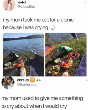 Crying, Memes, and Train: violet  @cloudlbs  my mum took me out for a picnic  because i was crying,)  Versus vs  @lkeVersus  my mom used to give me something  to cry about when I would cry THE HUMOR TRAIN, 41 Memes & Pics That Don't Suck