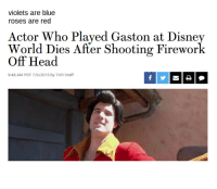 me irl: violets are blue  roses are red  Actor Who Played Gaston at Disney  World Dies After Shooting Firewor  Off Head  9:48 AM PDT 7/6/2015 by THR Staff me irl