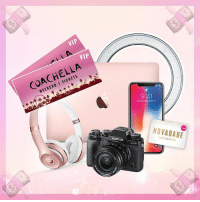 Beats by Dre, Coachella, and Fashion: VIP  VIP  COACHELLA  WEEKEND 1 TICKETS  9:41  7  1-1  FUIM  NOVABABE 🔥💸 WIN 💸 🔥THE ULTIMATE INSTA FAMOUS BUNDLE WORTH OVER $10,000 including 2 VIP Coachella tickets, iPhoneX, Mac Book Pro, Fujifilm camera, Beats by Dre, a ring light, AND a $1,000 Fashion Nova gift card! Step 1: Follow @FashionNova 💕 Step 2: TAG 4 BFF's 🙌 Winner will be announced on our Instastory on 02.01.18