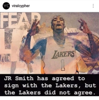 Funny, Internet, and Los Angeles Lakers: viralcypher  AKERS  UR Smith has agreed to  sign with the Lakers, but  the Lakers did not agree 😂😂😂😂💀 Why is the internet so disrespectful? funniest15 viralcypher funniest15seconds