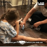 Memes, Prank, and Brilliant: ViralHag  LAD  BIBL E  Jm gonna get it w  p before you stab me This dad's prank is brilliant 😂😂