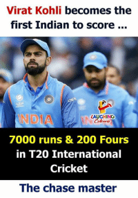 #IndVsNZ #ViratKohli: Virat Kohli becomes the  first Indian to score...  NDIA  LAUGHING  Colowrs  7000 runs & 200 Fours  in T20 Internationa  Cricket  The chase master #IndVsNZ #ViratKohli