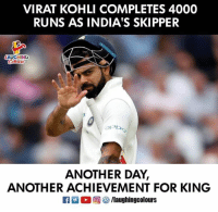 #ViratKohli 🇮🇳: VIRAT KOHLI COMPLETES 4000  RUNS AS INDIA'S SKIPPER  LAUCH NG  아가)  ANOTHER DAY,  ANOTHER ACHIEVEMENT FOR KING  R ○回够/laughingcolours #ViratKohli 🇮🇳