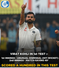 England, Memes, and Match: VIRAT KOHLI IN 1st TEST  1st INNINGS UNUSUAL DISMISSAL CHIT-WICKET)  2nd INNINGS MATCH-SAVING 49  SCORED A HUNDRED IN THIS TEST Virat Kohli scored his 2nd Test hundred against England.