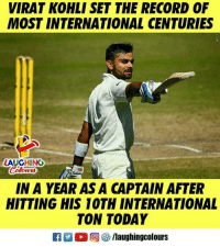 #Virat_Kohli: VIRAT KOHLI SET THE RECORD OF  MOST INTERNATIONAL CENTURIES  LAUGHING  Color  IN A YEAR AS A CAPTAIN AFTER  HITTING HIS 10TH INTERNATIONAL  TON TODAY #Virat_Kohli