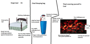 Virgin bed vs Chad sleeping bag vs Thad Coal: Virgin bed  VS  Chad Sleeping bag  Thad covering yourself in  Coal  Buying it is cheaper  Nothing challenging  than bed  You challenge your  Nepali monks are  sleepin in it  gloriously  heat  Overused as  Used by Good  broke people  hell  You might  challenge local  forest  Good, but not  challenging fighter  You buy Bed, Mattres  against temperature  Bag is video game boss  How hot is in there?  Your good question is  Pillow and Comforter  Just bag of coal and  for temperature  separatly  matches Virgin bed vs Chad sleeping bag vs Thad Coal