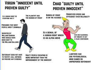 """Virgin, Games, and Lawyers: VIRGIN """"INNOCENT UNTIL  CHAD """"GUILTY UNTIL  PROVEN GUILTY""""  PROVEN INNOCENT""""  PRIORITIZES SPEED AND  BURDEN OF PROOF  THE PLAINTIFF HAS  IS A HUMAN RIGHT SO  EFFICIENCY OVER RELIABILITY  IS ON THE ACCUSED  THE BURDEN OF PROOF  EVERYONE HAS IT  PRESUMES THAT MOST  PEOPLE AREN'T CRIMINALS  OUcH!  S A DENIAL OF  INVENTED BY  WILLIAM GARROW  CAN USE BLACKMAIL  A HUMAN RIGHT WHICH  OR THREATS TO GET  WHO SHOULD HAVE  IS AN ALPHA MOVE  A FALSE CONFESSION  BEEN SENT TO  THE WILLIAM GALLOWS  LAWYERS CAN  DEFENDANT DOES NOT HAVE  GUILTY PEOPLE ESCAPING IS  MORE IMPORTANT THAN THE  USE PSYCHOLOGICAL  TO TESTIFY, CALL WITNESS  MIND GAMES ON  OR PROVIDE ANY EVIDENCE  IMPRISONMENT OF THE INNOCENT  UNPREPARED DEFENDANT Virgin """"innocent until proven guilty"""" vs Chad """"guilty until proven innocent"""""""