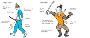 """Meme, Virgin, and Magic: Virgin isshin  Chad Sekiro  Only carries 1  sword  Carries  two  swords  Resurrects  Needs new body  to resurrect  by him self  Uses """"magic  Has a cowardly  pokey stick  Representing the  physically disabled  with prosthetic arm  Hot, young  stud  Wrinkly  old goose  Using top of the line  technology Worked my meme magic on sekiro (fixed)"""