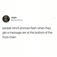 Dank, Food, and Virgin: virgin  @lcantdrive  people who's phones flash when they  get a message are at the bottom of the  food chain Gonna get eaten up.