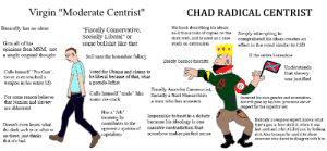"Virgin moderate centrist VS CHAD RADICAL CENTRIST: Virgin ""Moderate Centrist""  CHAD RADICAL CENTRIST  His book describing his ideals  sold thousands of copies on the  dark web, and is used as a case  Basically has no ideas  ""Fiscally Conservative,  Socially Liberal"" or  some bullshit like that  Simply attempting to  comprehend his ideas creates an  Gets all of his  opinions fron MSM, not  a single original thought  study on extremism  effect in the mind similar to LSD  IS the entire horseshoe  Still uses the horseshoe fallacy  Boldly bashes fascists  Understands  Calls himself ""Pro Gun"",  never even touched a  weapon in his entire life  Voted for Obama and claims to  be liberal because of that, what  a pseudo-leftist  that slavery  was justified  Fiscally Anarcho Communist,  Socially a Nazi Monarchist;  Calls himself ""male"" like  For some reason believes  Invented his own gender and orientation  but still goes by he/him pronouns out of  respect for the superior sex  some cis-cuck  a man who has answers  that Nazism and slavery  are abhorrent  Has a ""Job""  meaning he  contributes to the  opressive system of  capitalism  Impossible to beat in a debate  because his ideology is one  massive contradiction that  somehow makes perfect sense  Basically a weapons erpert, knows what  type a gun is, how old it it, when it was  last used and who it killed just by looking  at it. Also because he used it to shoot  Doesn't even know what  the dark web is or what is  on there, just thinks  that it's bad  someone who dared to disagree with him Virgin moderate centrist VS CHAD RADICAL CENTRIST"
