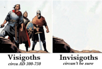 Circa, Sure, and Visigoths: Visigoths  Invisigoths  circan 't be sure  circa AD 300-750