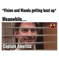 Patience is a virtue. MarvelousJokes: *Vision and Wanda getting beat up*  Meanwhile...  nil  ERTAIN  Captain America: Patience is a virtue. MarvelousJokes