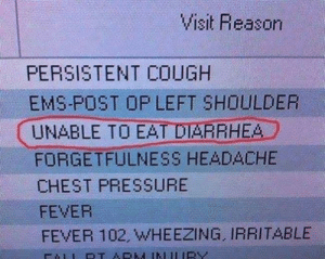 This is why grammar is important.: Visit Reason  PERSISTENT COUGH  EMS-POST OP LEFT SHOULDER  UNABLE TO EAT DIARRHEA  FORGETFULNESS HEADACHE  CHEST PRESSURE  FEVER  FEVER 102, WHEEZING, IRRITABLE This is why grammar is important.