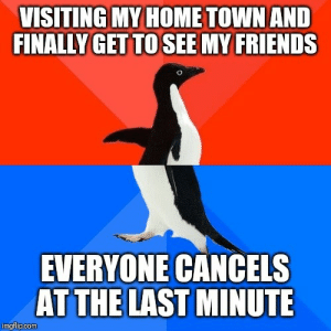 Every time: VISITING MY HOME TOWN AND  FINALLY GET TO SEE MY FRIENDS  EVERYONE CANCELS  AT THE LAST MINUTE  imgflip.com Every time