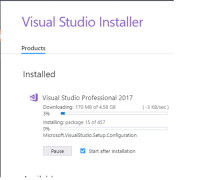 The nice Visual Studio Installer is stealing files from me :P: Visual Studio Installer  Products  Installed  Visual Studio Professional 2017  Downloading: 170 MB of 4.58 GB  396  (-3 KB/sec)  Installing: package 15 of 457  0%  Microsoft.VisualStudio.Setup.Configuration  Pause  Start after installation The nice Visual Studio Installer is stealing files from me :P