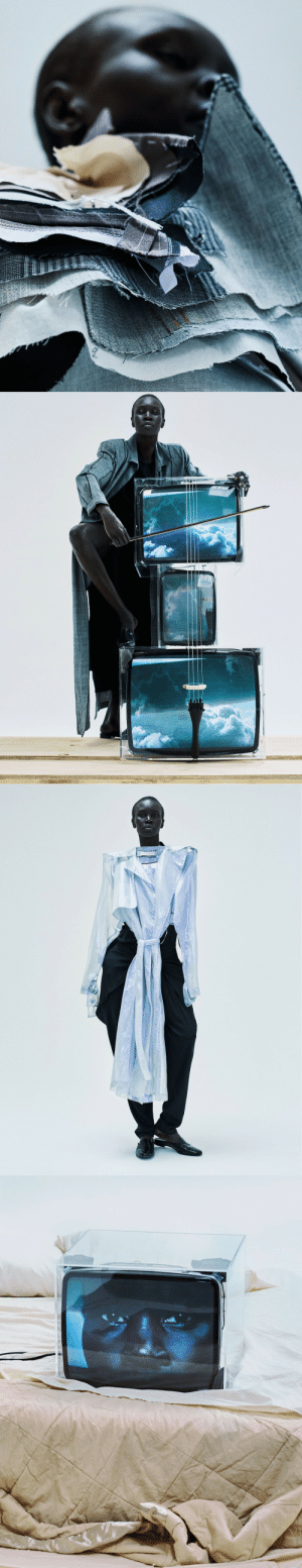 "Comfortable, Makeup, and Parents: visualjunkee:  ALEK WEK - photography: Txema Yeste - styling: Bernat Buscato - hair: Lacy Redway - makeup: Tyron Machhausen - manicure: Natalie Pavloski - set design: Chad Dziewior - text / interview: Irene Ojo-Felix - Models online editorial May 2017""Feeling comfortable in your own shoes. I think it's good to be able to say to a young person that you are enough. You can improve but it doesn't take away who you are. Some people are loud, some people are shy, it doesn't make them any better or any less."" ""Being iconic means inspiring change. I feel my parents raised us to be thinkers and good human beings the best that they could. I didn't want to just model for the sake of vanity, I knew that there was a bigger purpose, being able to shed light on important issues like the refugee crisis.""featured: Jolibe bolero - Hndwvn coat - Jolibe dress - Pierre Hardy  slippers - The Row jumpsuit. Wanda Nylon trench coat. Newbark slippers"