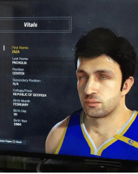 Had to do one for Zaza the GOAT. Made him a point guard because he's an ankle breaker 👀🙏🏽🔥🔥 respeck: Vitals  First Name  ZAZA  Last Name  PACHULIA  Position  CENTER  Secondary Position  N/A  College/From  REPUBLIC OF GEORGIA  Birth Month  FEBRUARY  Birth Day  10  Birth Year  1984  tate Player O Back Had to do one for Zaza the GOAT. Made him a point guard because he's an ankle breaker 👀🙏🏽🔥🔥 respeck