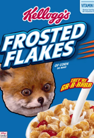 Dank Memes, Fox, and Corn: VITAMIN  Buena fuente  FROSTED  FLAKES  OF CORN  DE MAIZ  THEYRE Frosted Mr. Fox