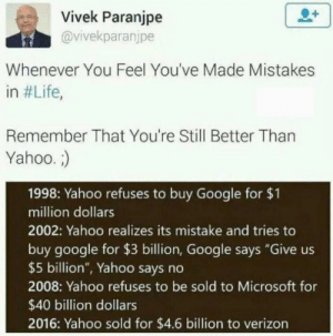 "Google, Life, and Microsoft: Vivek Paranjpe  @vivekparanjpe  Whenever You Feel You've Made Mistakes  in #Life,  Remember That You're Still Better Than  Yahoo.  1998: Yahoo refuses to buy Google for $1  million dollars  2002: Yahoo realizes its mistake and tries to  buy google for $3 billion, Google says ""Give us  $5 billion"", Yahoo says no  2008: Yahoo refuses to be sold to Microsoft for  $40 billion dollars  2016: Yahoo sold for $4.6 billion to verizon Good luck next time"