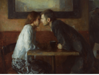 Cute, Tumblr, and Blog: vizuart:  A Stolen Kiss, Ron Hicks, Oil on Canvas, 2014.by lmm7  This is cute