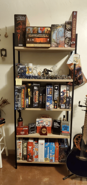 Different than the normal gaming shared here, but if figured you would all appreciate my board/tabletop game shelf!: VLAADA GHVATU.  ULTIMATE EDITION  GLOOMHAVEN  WIZKIDS  ΠΕΝΤΑΙΤ  CITADEL  CORAX  WHITE  WARHAMMER  WNO FPOR  STARTER S  Tanto  Cuore  Cards  Against  Humanity  START  UPS  A party game  for horble  ble people.  EXPLODINO KITTENS A  EXPLODING KITTENS  GAME F PHONES  Ridiul  Paches!  A CARD GAME  ITENED CP  AES 7  1 UNPAINTED FIGURE INSIDE  KRAKEN  RD.  CONCORDIA  GAMES  PACE MA t  DEAD  111A  WARHAMMER  CITADEL  ESSENTIALS  WARAE  OF WINTER  W SUIZION  MysCIC VALE  CONCLAVE  Settlers  Se  MACH KORO  483  MAITAR  GAMES  TWILIGHTa  ירפRUCGLE  Catan  NACIO KORO  AEG  MISSIONS  IDW  XIA  LEGENDS oFA  DRIFT SYSTEM ATA  MACHI KORO  MACHI KORO  Far Off Games  W  GAMES  CYOER STATION I  FOG OF LOVE  GUANK  INTS  Apooalypsel  SUANKS  AZUL>  NSPACE  A DECK-BUILDING ADVENTURE  RENEGADA  VLAADA CHVATIL  GALAXY TRUCKER  CG3  ARKHAM  HORROR  TWILIGHT IMPERIUM  TICKET TO RIDE  yienat  An Epic Board Game of Conquest.  Politics, and Trade Different than the normal gaming shared here, but if figured you would all appreciate my board/tabletop game shelf!