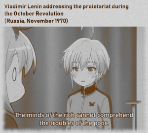 Anime, Russia, and Vladimir Lenin: Vladimir Lenin addressing the proletariat during  the October Revo lution  (Russia, November 1970)  The minds of the rich cannot comprehend  the troubles of the poor. eat the rich
