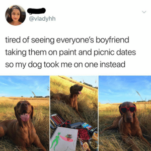 Date, Paint, and Boyfriend: @vladyhh  tired of seeing everyone's boyfriend  taking them on paint and picnic dates  so my dog tOok me on one instead Perfect date!!