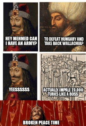 Army, History, and Time: VMETO S  Vill  HEY MEHMED CAN  IHAVE AN ARMY?  TO DEFEAT HUNGARY AND  TAKE BACK WALLACHIA?  YEESSSSSS  ACTUALLYIMPALE 23.000  TURKS LIKEA BOSS  BROKEN PEACE TIME Thus your Highness you must know that I have broken the peace