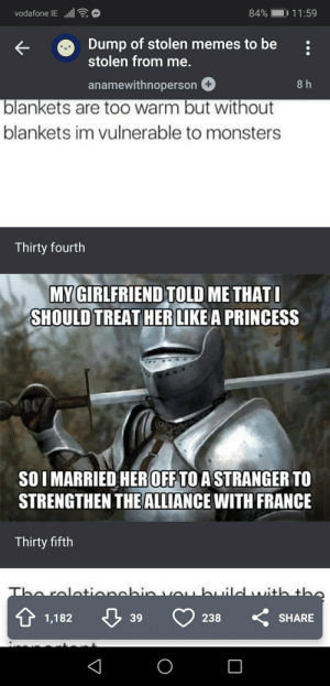 Memes, France, and Princess: vodafone IEl.  84%  11:59  Dump of stolen memes to be  stolen from me.  anamewithnoperson  8 h  blankets are to0 warm but without  blankets im vulnerable to monsters  Thirty fourth  MY GIRLFRIEND TOLD ME THATI  SHOULD TREAT HER LIKE A PRINCESS  SOIMARRIED HEROFF TO A STRANGER TO  STRENGTHEN THE ALLIANCE WITH FRANCE  Thirty fifth  Tho rolat+ianabin  ubuild ih the  238  SHARE  1,182  39